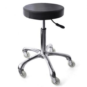 A round, black seat stool with wheels on the bottom and height-adjusting lever.